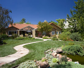 A well landscaped yard featuring a slate walkway and water feature.