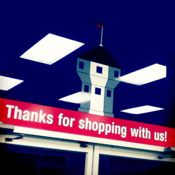 A photo of our Thanks for Shopping! sign.